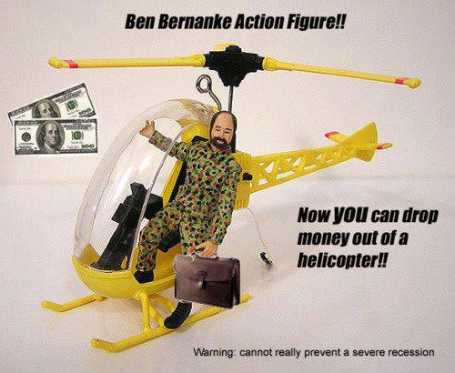 Quantitative Easing Ben Bernanke Action Figure Dropping Money from a Helicopter